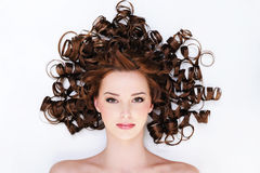 Woman with beautiful curly hairs royalty free stock photo