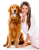 Woman with a beautiful dog Stock Photography