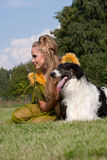The woman in a beautiful dress with borzoi Royalty Free Stock Photos