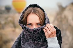 Woman with beautiful eyes and mehendi tattoo in Cappadocia royalty free stock image