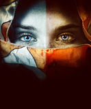 Woman with beautiful eyes and veil. Portrait of woman with beautiful eyes and veil royalty free stock image