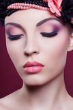 Woman beautiful face closeup fashion portrait pink make up Royalty Free Stock Photos