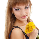Woman beautiful face with flower dandelion Stock Photos