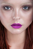 Woman beautiful face with perfect makeup. Close up Portrait. Glamour Style. Fresn Clean Skin Royalty Free Stock Image