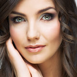 Woman beautiful face portrait. Skin care style face hand touchi Royalty Free Stock Photography