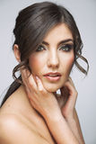 Woman beautiful face portrait. Skin care style fac. E hand touching. Female model studio posing stock photos