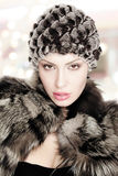Woman beautiful fur Stock Images
