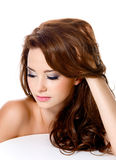 Woman with beautiful hairs and fashion makeup Stock Image