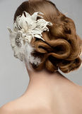 Woman with beautiful hairstyle. Portrait of attractive young woman with beautiful hairstyle and stylish hair decoration. Bride with gorgeous hairdo Royalty Free Stock Image