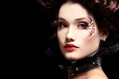 Woman beautiful halloween vampire baroque aristocrat Stock Photo