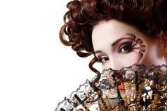 Woman beautiful halloween vampire baroque aristocrat. Over white stock photo