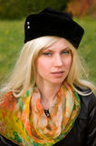 Woman with a beautiful headdress. Attractive young woman with a beautiful headdress Stock Photos