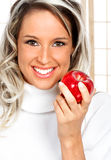 Woman beautiful and healthy with apple Royalty Free Stock Photo