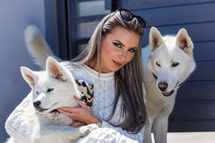 Woman with a beautiful husky dog royalty free stock images