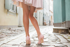 Woman with beautiful legs wearing high heel shoes. Young woman with beautiful legs wearing high heel shoes stock photos