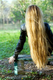 Woman with beautiful long blond hair stock photography