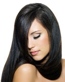 Woman with beautiful long brown hairs Royalty Free Stock Photo