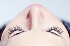 Woman beautiful long eyelashes made in cosmetics salon, macro photography of pretty female eyelashes and part of face Stock Images