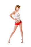 Woman with beautiful long legs. Standing stock photo
