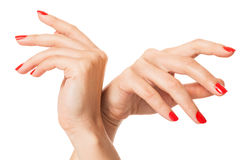 Woman with beautiful manicured red fingernails Royalty Free Stock Image