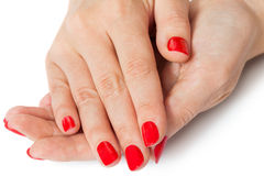Woman with beautiful manicured red fingernails Royalty Free Stock Photo