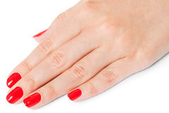 Woman with beautiful manicured red fingernails Stock Images