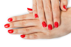 Woman with beautiful manicured red fingernails Royalty Free Stock Photography