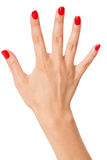 Woman with beautiful manicured red fingernails Royalty Free Stock Images