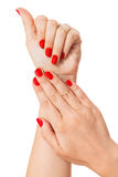 Woman with beautiful manicured red fingernails Stock Photography