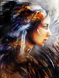 Illustration Beautiful mystic painting of a young indian woman with eagle feather headdress, profile portrait, abstract background Stock Images