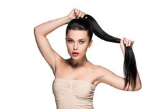 woman with beautiful ponytail and red lips stock image