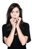 Woman beautiful portrait fear afraid anxious royalty free stock photography