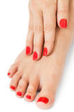 Woman with beautiful red finger and toenails Stock Photography