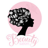 Woman beautiful silhouette with hair style. Illustration may be use for beauty salon signboard Royalty Free Stock Photography