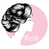 Woman beautiful silhouette with hair style. Illustration may be use for beauty salon signboard Royalty Free Stock Photos