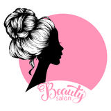 Woman beautiful silhouette with hair style. Illustration may be use for beauty salon signboard Stock Images