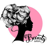 Woman beautiful silhouette with hair style. Illustration may be use for beauty salon signboard Stock Photography