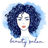 Woman beautiful silhouette with hair style. With water colored background, illustration may be use for beauty salon signboard Stock Images