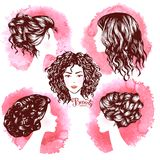 Woman beautiful silhouettes with hair style. On watercolor background , illustration may be use for beauty salon signboard Royalty Free Stock Photography