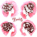 Woman beautiful silhouettes with hair style. On watercolor background , illustration may be use for beauty salon signboard Stock Photos