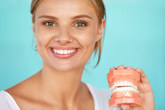 Woman With Beautiful Smile, Healthy Teeth Holding Dental Model. Dentistry. Closeup Portrait Of Beautiful Smiling Woman With White Smile, Healthy Teeth Holding Stock Photography