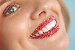 Woman With Beautiful Smile, Sugar Lip Scrub On Lips. Beauty Face. Woman With Beautiful White Smile And Lip Scrub On. Closeup Of Smiling Girl's Beauty Face With stock photo