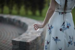 A woman in a beautiful summer dress Stock Photo