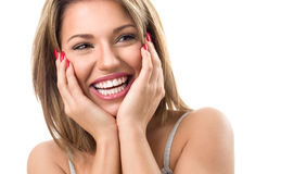 Woman with beautiful teeth laughing Stock Images