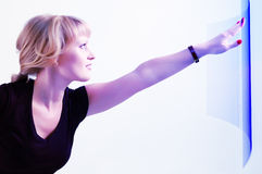 Woman beautiful touch screen Stock Photo