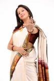 Woman with beautiful white sari royalty free stock photo