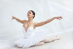 Woman. Beautiful young ballerina in pointe stock photo
