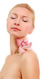 Woman beautiful young with flower Royalty Free Stock Images