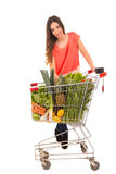 Woman. Beautiful young woman shopping at the supermarket Royalty Free Stock Images