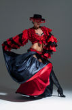 Woman in beautifull red dress dancing Royalty Free Stock Photos